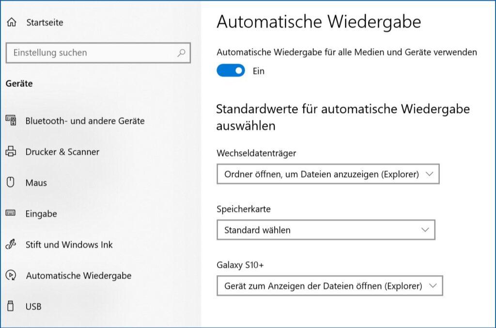 Ab Windows 10 Automatische Wiedergabe festlegen