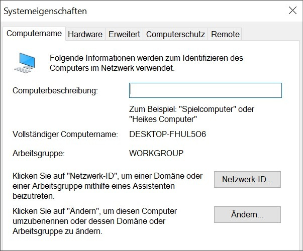 Workgroup Windows 10 ändern – Lösung1