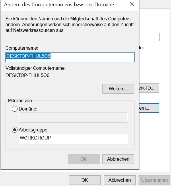 Workgroup Windows 10 ändern – Lösung2