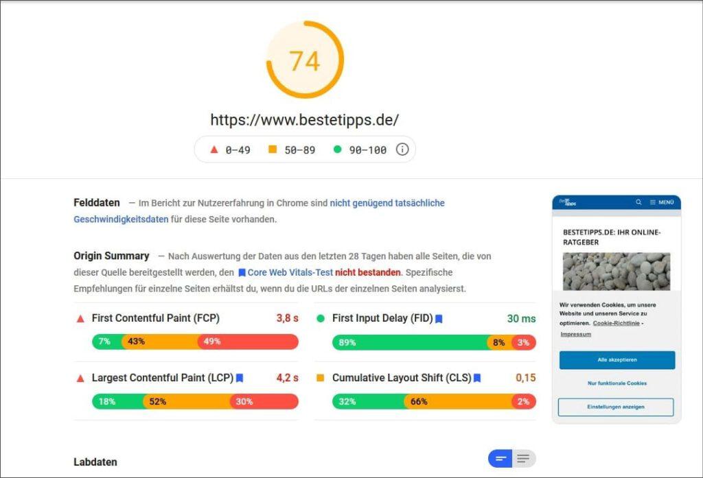 Webseite ist zu langsam Google Page Speed-Insights
